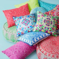 Berber Embroidered Cushion Neon Yellow