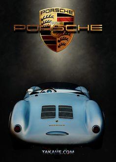 1956 Porsche Spider 550 RS Heckansicht. Druck auf Metallplatte ohne copyright