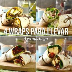 4 Wraps to Go Video, Lunch Recipes, Mexican Food Recipes, Breakfast Recipes, Cooking Recipes, Healthy Meal Prep, Healthy Snacks, Healthy Recipes, Comida Diy, Food Videos