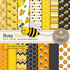 Bee Digital papers and Clipart Bumble Bees by JennyLDesignsShop