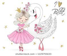 Vector de stock (libre de regalías) sobre Two Hand Drawn Beautiful Cute Little1022899375 Cartoon Girl Drawing, Girl Cartoon, Cartoon Drawings, Art Drawings, Chibi Kawaii, Art Mignon, Freckles Girl, Disney Cartoon Characters, Little Ballerina