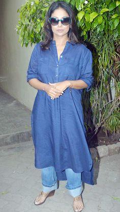 Shefali Shah in a comfy long kurti with fold denims promoting 'Dil Dhadakne Do'. #Bollywood #Fashion #Style #DilDhadakneDo #Beauty