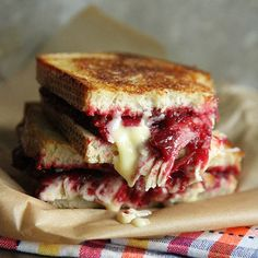 Roasted Turkey, Cranberry and Brie Grilled Cheese - I'll be changing some ingredients to make this healthier for my hubby!!