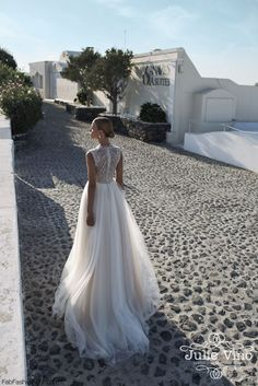 Elegant Julie Vino bride from Santorini 2016 Bridal Collection. #wedding #julievino #santorini