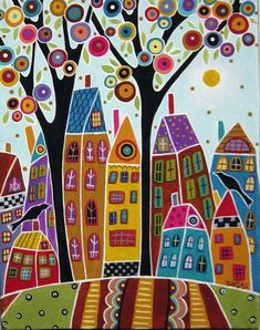 Bird Houses and a Swirl Tree painting by Karla Gerard Karla Gerard, Art Moderne, Cross Paintings, Naive Art, Silk Painting, Painting Abstract, Abstract City, 5d Diamond Painting, Whimsical Art