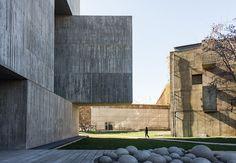 Magnificient play of volumes by architect Alejandro Aravena + Elemental in the new Centro de Innovación UC Anacleto Angelini on the San Joaquín Campus, Universidad Católica de Chile, Santiago, Chile