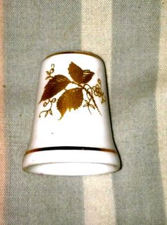 Vintage Ley Bone China Thimble Made in England Gold Flowers | eBay