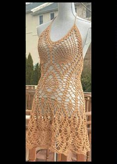 Coffee Mocha halter dress/ crochet beach cover up for large bust / One Of A Kind  / Size M / big bust prfect fit/ Ready to  Ship