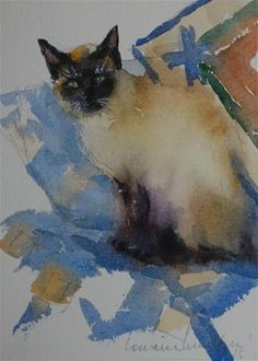 "Daily Paintworks - ""Fancy Cat"" - Original Fine Art for Sale - © Lorraine Lewitzka"