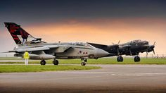 "A Tornado from 617 Squadron ""The Dambusters"" in the company of the Battle Of Britain Lancaster during May this year."