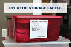 25UHeart Organizing: DIY Attic Storage Labels- Follow #SightApp and save an entire article or recipe by 1 screenshot (Check How: https://itunes.apple.com/us/app/sight-save-articles-news-recipes/id886107929?mt=8