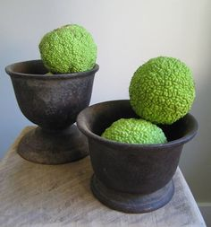 osage oranges. pop of green color in centerpieces.