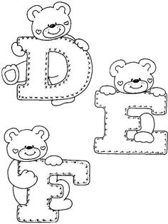 Fonts Alphabet Discover - - alphaber and teddy coloring Embroidery Alphabet, Baby Embroidery, Cross Stitch Alphabet, Felt Patterns, Applique Patterns, Sewing Patterns, Creative Lettering, Hand Lettering, Colouring Pages