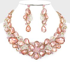 Rose Peach Petal Pink Crystal Rhinestone Formal Wedding Bridal Prom Party Pageant Bridesmaid Evening Teardrop Flower Bib Necklace Earrings Set Elegant Costume Jewelry