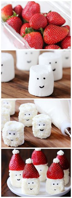 Santa Hat Marshmallow Snacks I should never pin when I'm hungry!