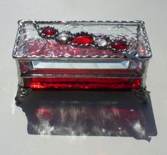 Red Jeweled Hummingbird Stained Glass Box with Bevels and Beads on Etsy, $49.00