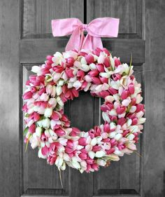 Spring Wreath  Tulip Wreath  Mothers Day Gift  by RefinedWreath