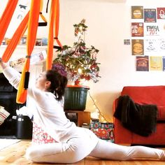 Pigeon pose with yoga swing. See the video on FB - Tsveti Apostolov