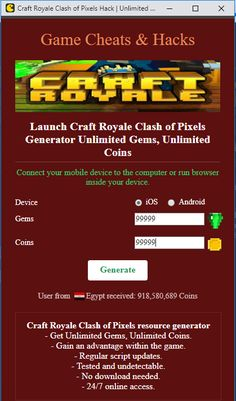 Do you need additional Unlimited Gems, Unlimited Coins? Try the newest online cheat tool. Hack Craft Royale Clash of Pixels directly from your browser. Coin Crafts, E Craft, Free Gems, Hack Tool, Cl, Cheating, Coins, About Me Blog, Ipad