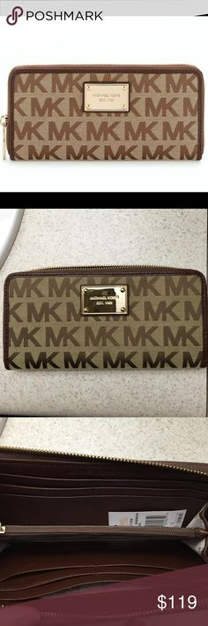 MICHAEL KORS Jet Set Item ZA Continental Wallet MICHAEL KORS Jet Set Item Continental Wallet in Beige/Ebony/Mocha in jacquard fabric printed with MK block lettering on both the front and theback. It's trimmed in leather and finished with gold tone hardware. This zip around style wallet has a leather and MK signature logo print fabric interior that features 8 credit card slots, 2 full length bill compartments and a center zippered coin compartment. The front is accented with MK logo…