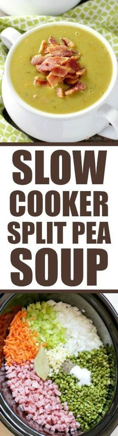 This delicious and healthy Slow Cooker Split Pea Soup is a cinch to put together. Serve it with a crusty bread for an easy, affordable meal. --- PIN THIS RECIPE --- I'm beginning to think that New Recipes, Crockpot Recipes, Soup Recipes, Dinner Recipes, Cooking Recipes, Favorite Recipes, Healthy Recipes, Easy Recipes, Korean Recipes