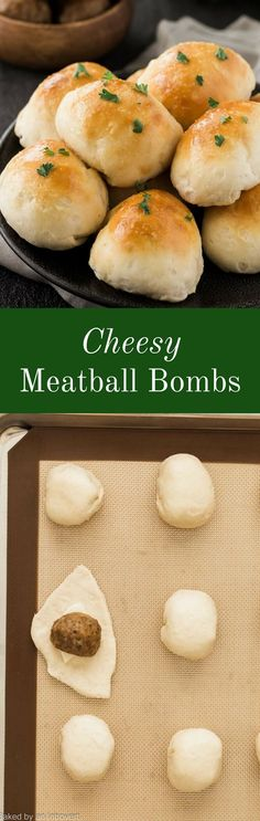 Cheesy meatball bombs loaded with mozzarella, topped with garlic butter and parsley, and perfect for an easy meal!  via Baked by an Introvert