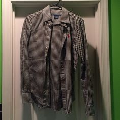Polo button down shirt Worn a couple of times. Great condition. Size 4. Black and white. Polo by Ralph Lauren Tops Button Down Shirts