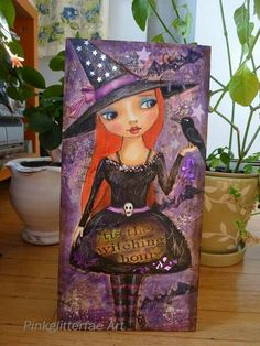 Makes me think @Angel Mixon! Witch Halloween Mixed Media Painting  - how funny I am making one almost like this - just different color dress and face . . . how funny!