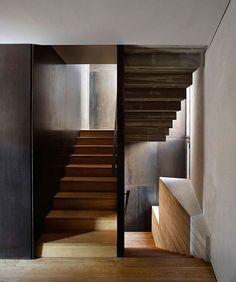 wood stairs w/ steel walls