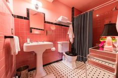 Beautiful deco bathroom -- pink and black -- built from scratch