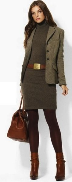 I don't love the color combo, but I do like a sweater dress with ankle booties and tights.