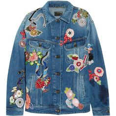Saint Laurent Oversized appliquéd denim jacket (38.925 ARS) ❤ liked on Polyvore featuring outerwear, jackets, coats & jackets, blue jackets, denim jacket, sequin jacket, blue sequin jacket and jean jacket