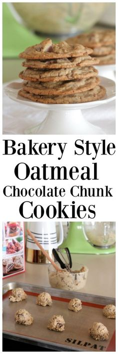 These Bakery Style Oatmeal Chocolate Chunk Cookies are large perfectly crisp yet soft cookies that will bring a smile to everyones faces! Cookie Desserts, Cookie Recipes, Dessert Recipes, Sweet Desserts, Dessert Ideas, Pasta Recipes, Sweet Recipes, My Favorite Food, Favorite Recipes