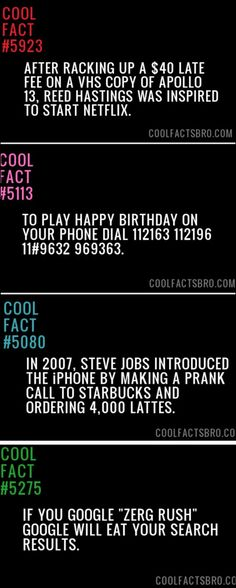 Facts for your entertainment... random funny facts, happy birthdays, fun fact, android, ray ban sunglasses, birthday songs, cool facts, zerg rush, random facts