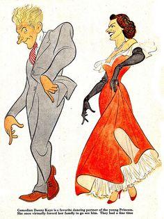 Al Hirschfeld - Danny Kaye & Young Princess