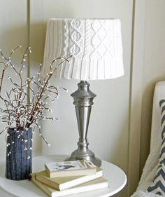 Вязаный абажур для настольной лампы