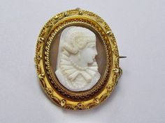 Gold shell etruscan style cameo brooch c1870 (Victorious Antique Jewellery)