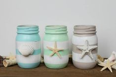 You would be amazed to see these lovely 20 DIY Mason jar ideas for the decor, storage, planting, and other fun purposes for your home. Adding some paint, Mason Jar Projects, Mason Jar Crafts, Diy Projects, Seashell Crafts, Beach Crafts, Diy And Crafts, Beach Themed Crafts, Summer Crafts, Kid Crafts