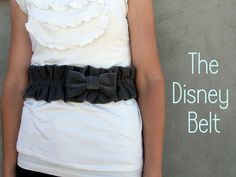 DIY Recycled Fabric Gathered/Shirred Wide Elasticized Disney Belt w/ Large Fabric Bow Tie or Ruffled Flower Centerpiece