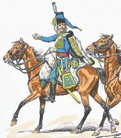 Hussard de Lauzun en 1786, d'après Lucien Rousselot (Carnet de la Sabretache N°5, 1970)