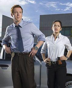 """Damian Lewis as Detective """"Charlie"""" Crews Jr. and Sarah Shahi as Detective Dani Reese in """"Life"""" (TV Series)"""