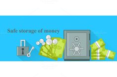 Safe Storage of Money Design Flat by robuart on Creative Market
