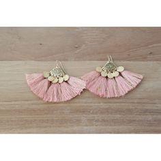 ➳ Boucle d'oreille pour oreille percée ➳ Attache en plaqué or ➳ Pompon lurex, vieux rose http://amzn.to/2ryLvVP