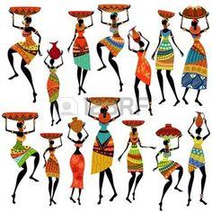 dessin tribal: Silhouettes de belles femmes africaines                                                                                                                                                      Plus
