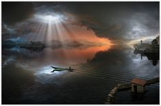 beautiful sunlight pocket on a dark night on water with boat