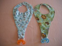 Pacifier / Binkie Bibs very reasonably priced from Etsy. Lots of choices as well.