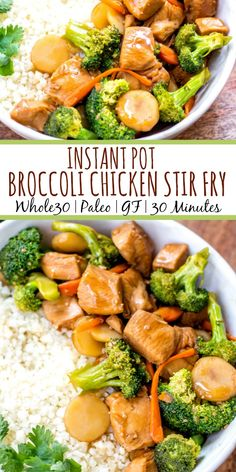 This Paleo and instant pot broccoli chicken stir fry is a great weeknight dinner made in one pot and in under 30 minutes. It's not only a instant pot recipe, but it's low carb and gluten-free, so you can enjoy a guilt free Chinese inspired Whole 30 Chicken Recipes, Healthy Chicken Recipes, Paleo Recipes, Instantpot Chicken Recipes, Chinese Food Recipes Chicken, One Pot Recipes, Skillet Recipes, Family Recipes, Meat Recipes