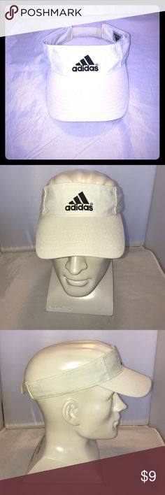 White adjustable Adidas Visor White Adidas Visor with Velcro adjustable strap. Very clean. Please be aware Poshmark fee to sellers is $2.95 for anything below $15. Adidas Accessories Hats