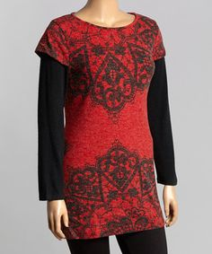 Look what I found on #zulily! Red & Black Filigree Layered Tunic - Plus by  #zulilyfinds