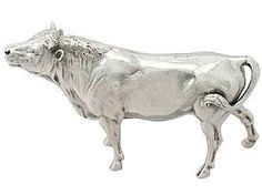 Sterling Silver Model of a Horned Bull - Antique Victorian  SKU: A2144 Price  GBP £1,895.00  http://www.acsilver.co.uk/shop/pc/Sterling-Silver-Model-of-a-Horned-Bull-Antique-Victorian-50p7370.htm#.VUtGQflVhBc